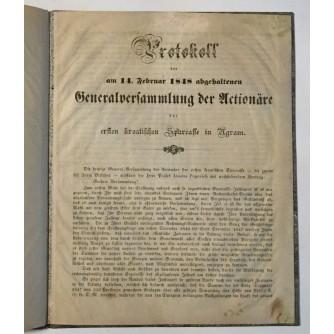 PROTOKOL OD 14.02.1848. SKUPŠTINE DIONIČARA PRVE HRVATSKE ŠTEDIONICE U ZAGREBU