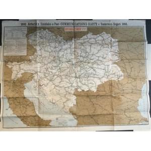 POŠTANSKI ŽELJEZNIČKI PUTEVI KROZ AUSTRO-UGARSKU : ZEMLJOPISNA KARTA