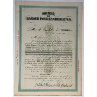 STARA DIONICA SOCIÉTÉ DE BANQUE POUR LA CROATIE S.A. ZAGREB 1944