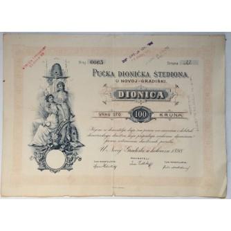 STARA DIONICA PUČKA DIONIČKA ŠTEDIONICA NOVA GRADIŠKA 100 KRUNA 1898