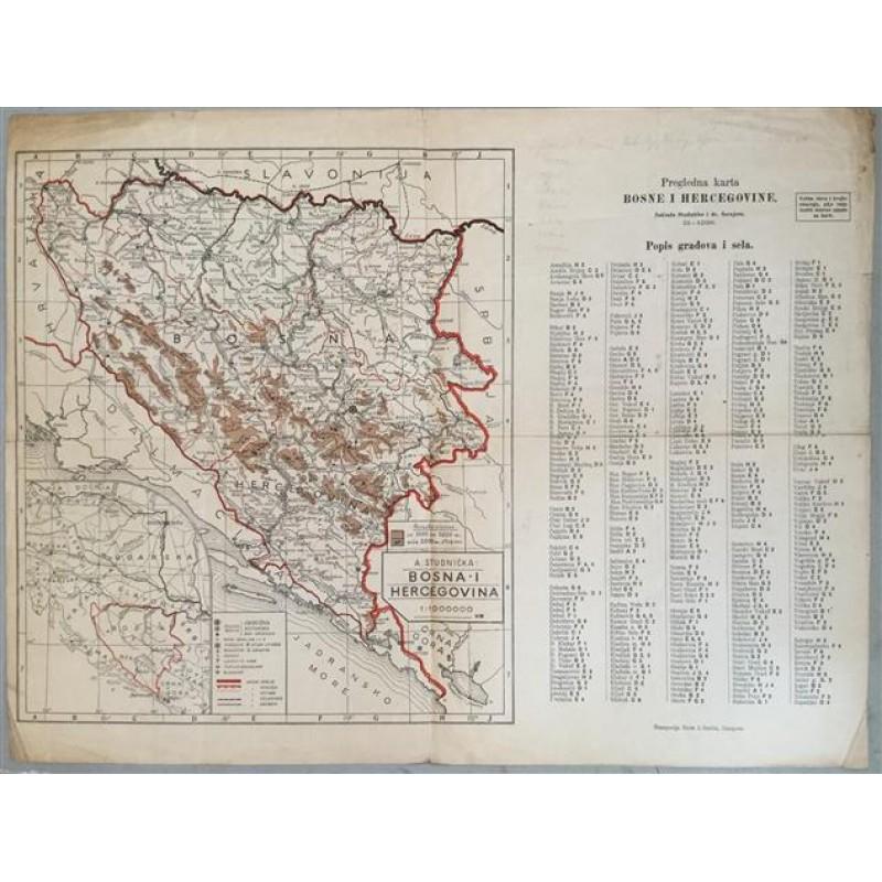 Pregledna Karta Bosne I Hercegovine Antikvarijat Vremeplov
