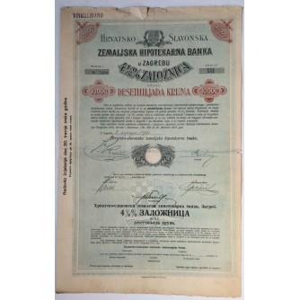 STARA DIONICA HRVATSKO SLAVONSKA ZEMALJSKA HIPOTEKARNA BANKA ZAGREB ZALOŽNICA  10 000 DESETHILJADA KRUNA 1921