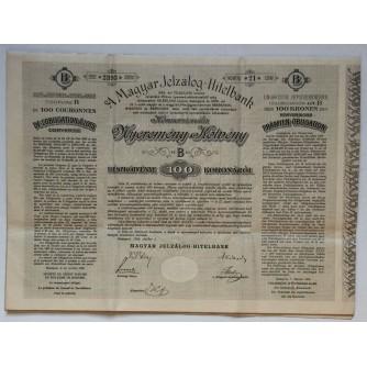 STARA DIONICA MAGYAR JELZÁLOG-HITELBANK PRÄMIEN OBLIGATION 100 KRONEN BUDAPEST 1906 HUNGARY