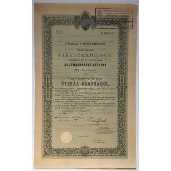 STARA DIONICA HUNGARY A MAGYARKORONA ORSZAGAI JÁRADÉKKÖLCSÖN ÁLLAMADÓSSÁGI KÖTVÉNY 500 KORONÁRÓL BUDAPEST 1903