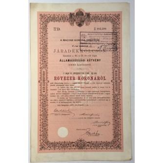 STARA DIONICA HUNGARY A MAGYARKORONA ORSZAGAI JÁRADÉKKÖLCSÖN ÁLLAMADÓSSÁGI KÖTVÉNY 500 KORONÁRÓL BUDAPEST 1892