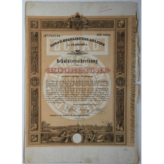 STARA DIONICA DONAU-REGULIRUNGS-ANLEIHE SCHULDVERSCHREIBUNG EINHUNDERT GULDEN WIEN 1870