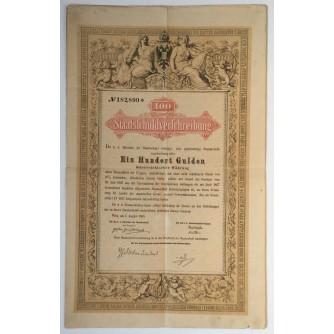 STARA DIONICA 100 EINHUNDERT GULDEN STAATSLCHULDVERLCHREIBUNG WIEN 1868