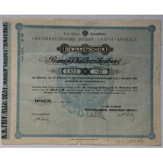 STARA DIONICA OESTERREICHISCHE BODEN- CREDIT- ANSTALT GEWINNSTSCHEIN PRÄMIEN SCHULDVERSCHREIBUNG WIEN 1895