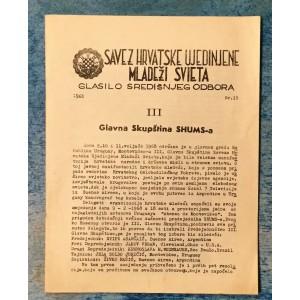 SAVEZ HRVATSKE UJEDINJENE MLADEŽI SVIETA : 1968. BROJ 15