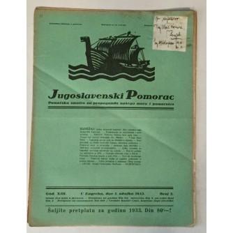 JUGOSLAVENSKI POMORAC, ČASOPIS BROJ 5, GODINA 1933.