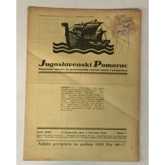 JUGOSLAVENSKI POMORAC, ČASOPIS BROJ 7, GODINA 1933.
