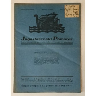 JUGOSLAVENSKI POMORAC, ČASOPIS BROJ 8, GODINA 1933.