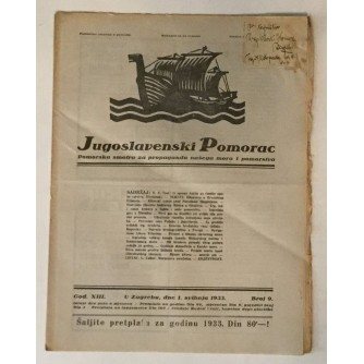 JUGOSLAVENSKI POMORAC, ČASOPIS BROJ 9, GODINA 1933.