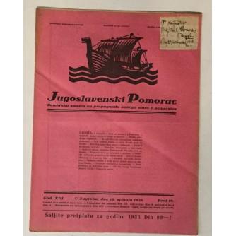 JUGOSLAVENSKI POMORAC, ČASOPIS BROJ 10, GODINA 1933.