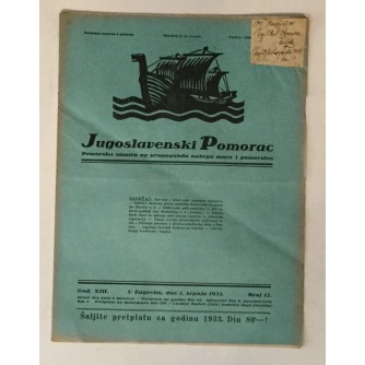 JUGOSLAVENSKI POMORAC, ČASOPIS BROJ 12, GODINA 1933.
