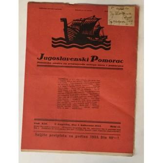 JUGOSLAVENSKI POMORAC, ČASOPIS BROJ 13, GODINA 1933.