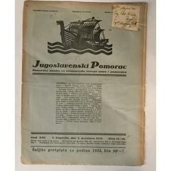JUGOSLAVENSKI POMORAC, ČASOPIS BROJ 15-16, GODINA 1933.