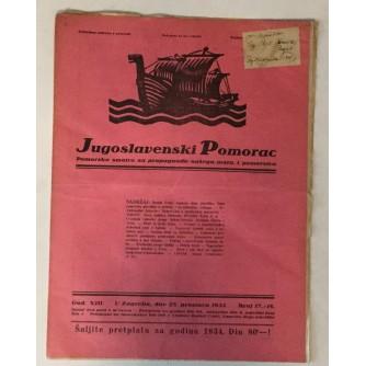 JUGOSLAVENSKI POMORAC, ČASOPIS BROJ 17-18, GODINA 1933.