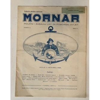 MORNAR, ČASOPIS BROJ 5, GODINA 1929.