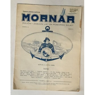 MORNAR, ČASOPIS BROJ 1, GODINA 1929.