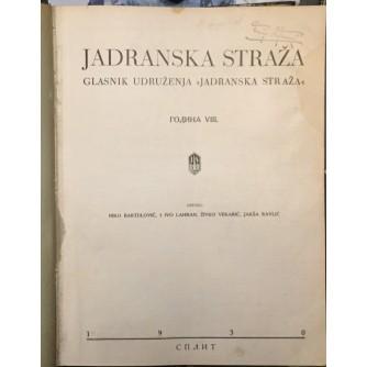 NIKO BARTULOVIĆ : JADRANSKA STRAŽA ČASOPIS GODINA 1930