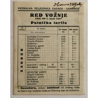 VICINALNA ŽELJEZNICA ZAGREB-SAMOBOR, RED VOŽNJE 1937.GODINA