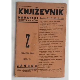 KNJIŽEVNIK HRVATSKI KNJIŽEVNI MJESEČNIK BROJ 2 GODINA 1933
