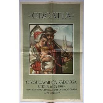 """HRVATSKA STARA DIONICA """"CROATIA"""" OSIGURAVAJUĆA ZADRUGA UTEMELJENA 1884 ZAGREB  1942"""