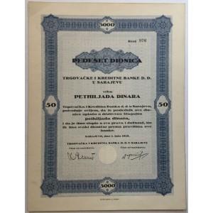 BOSNA I HERCEGOVINA STARE DIONICE 50 DIONICA TRGOVAČKE I KREDITNE BANKE D.D. U SARAJEVU 1928