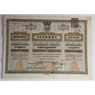 BOSNA I HERCEGOVINA STARE DIONICE 50 DINARA DEONICA DEONIČKE PIVARE SARAJEVO 1923