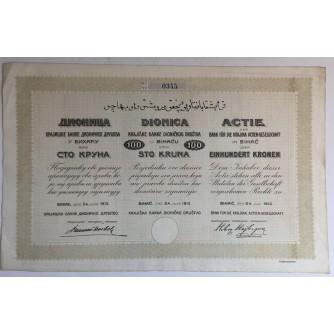 BOSNA I HERCEGOVINA STARE DIONICE KRAJIŠKA BANKA DIONIČKOG DRUŠTVA U BIHAĆU 100 KRUNA 1913