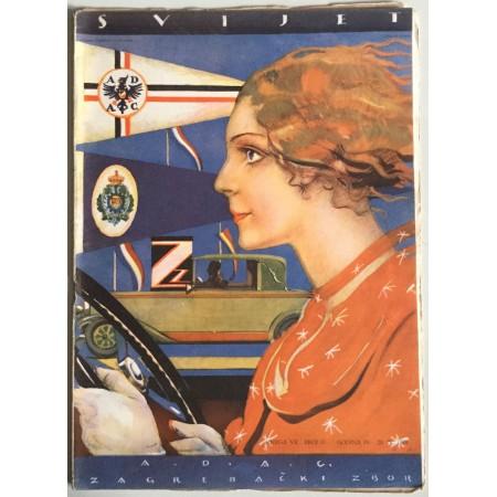 """STARI ČASOPIS """"SVIJET"""", KNJIGA VII. 1929, GODINA IV. BROJ 17, A.D.A.C ZAGREBAČKI ZBOR"""