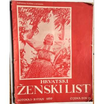 HRVATSKI ŽENSKI LIST, GODINA 1, 1939. RUJAN, ZAGREB