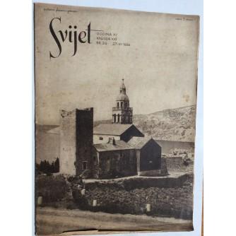 SVIJET, STARI ČASOPIS, GODINA XI, 1936. KNJIGA 21, BROJ 26