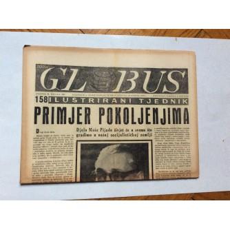 GLOBUS, STARI ČASOPIS, ILUSTRIRANI TJEDNIK, GODiNA 4 BROJ 158, 1957.