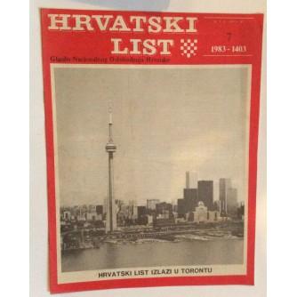 HRVATSKI LIST, STARI ČASOPIS, 1983. BROJ 7