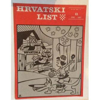 HRVATSKI LIST, STARI ČASOPIS, 1981. BROJ 11