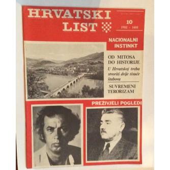 HRVATSKI LIST, STARI ČASOPIS, 1981. BROJ 10