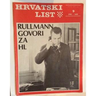 HRVATSKI LIST, STARI ČASOPIS, 1981. BROJ 9