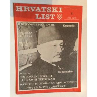 HRVATSKI LIST, STARI ČASOPIS, 1982. BROJ 8
