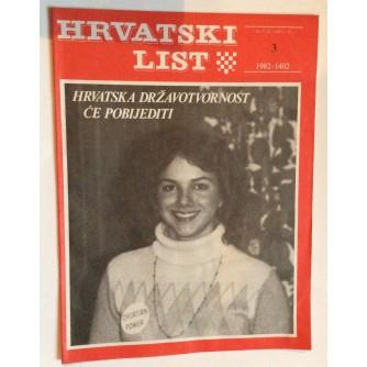 HRVATSKI LIST, STARI ČASOPIS, 1982. BROJ 3