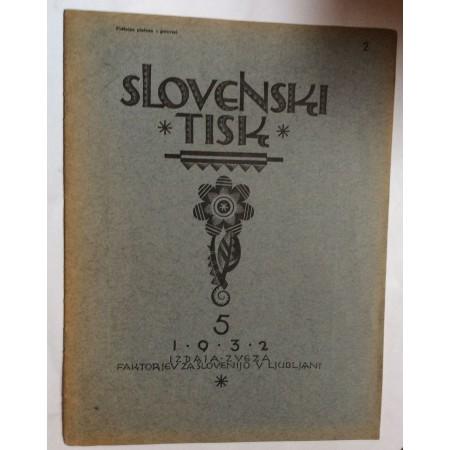 SLOVENSKI TISK, GODINA 1932.BROJ 5