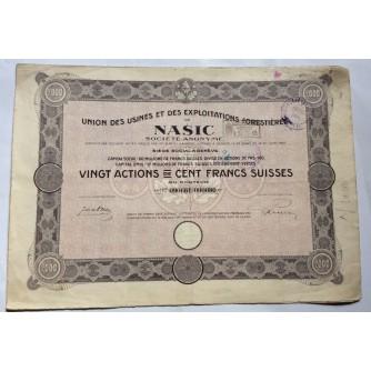 DIONICA NAŠICE, UNION DES USINES ET DES EXPLOITATIONS FORESTIERES, FRS 2000, NAŠICE, 1921.