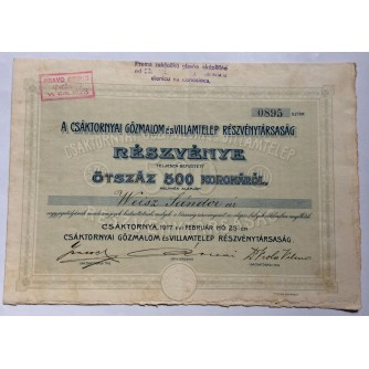 DIONICA , ČAKOVEC, CSAKTORNYAT GOZMALOM ES VILLAMTELEP RESZVENYTARSASAG, 500 KRUNA, 1917