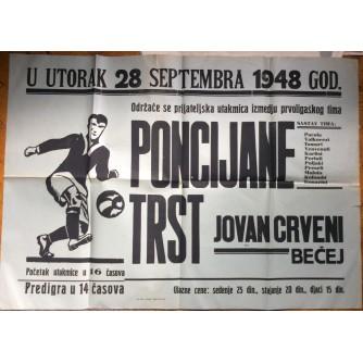 NOGOMET, PONCIANA, TRST -JOVAN CRVENI, BEČEJ, 1948