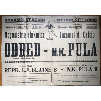 NOGOMET, ODRED LJUBLJANA-PULA, 1951