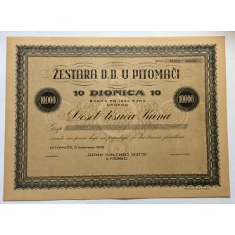 DIONICA, ŽESTARA DD U PITOMAČI, 10 000 KUNA, PITOMAČA, 1942.