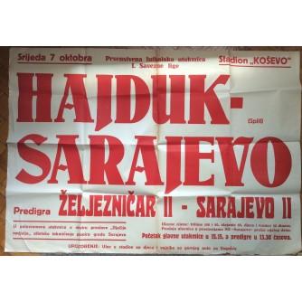 HAJDUK SPLIT, SARAJEVO, PLAKAT,  PRVENSTVO JUGOSLAVIJE U NOGOMETU, 1953.