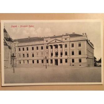 ZAGREB STARA RAZGLEDNICA HRVATSKI SABOR 1910.  R0373