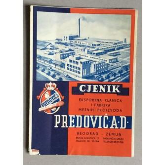 PREDOVIĆ , CJENIK, EXPORTNA KLANICA I FABRIKA MESNIH PROIZVODA, BEOGRAD 1940.